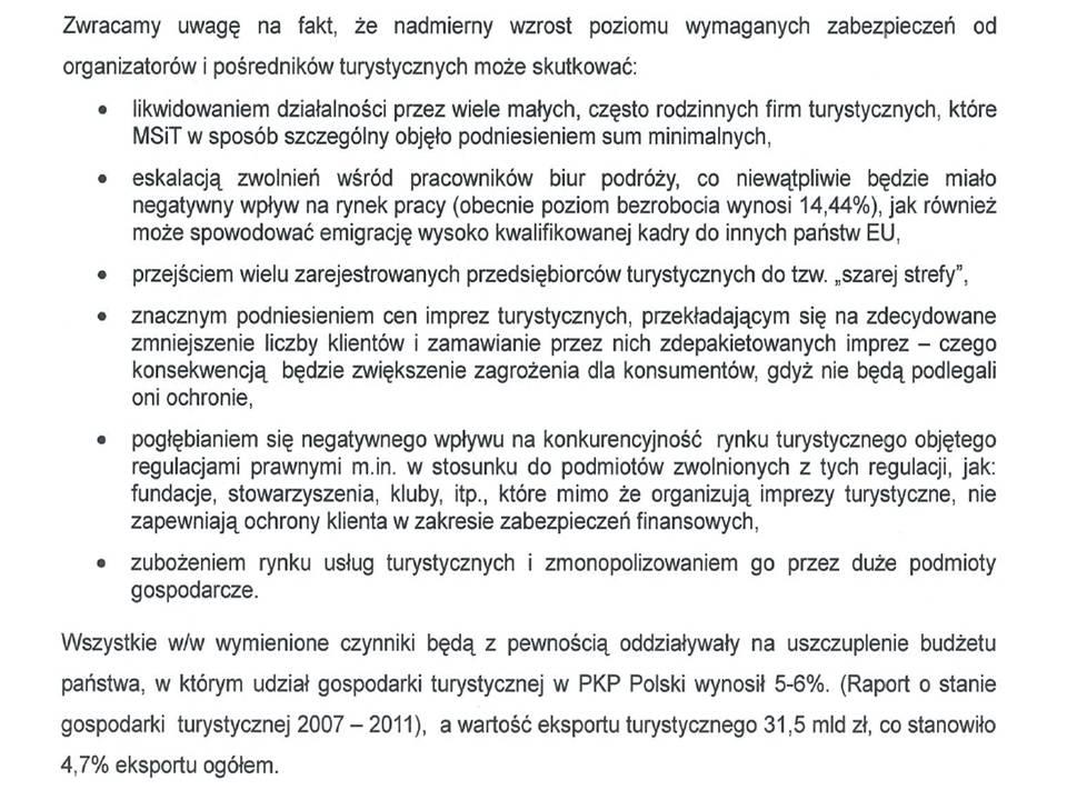 Uwagi polskiego samorządu turystycznego do rozporządzenia Min. Finansów dot. minimalnych sum gwarancyjnych